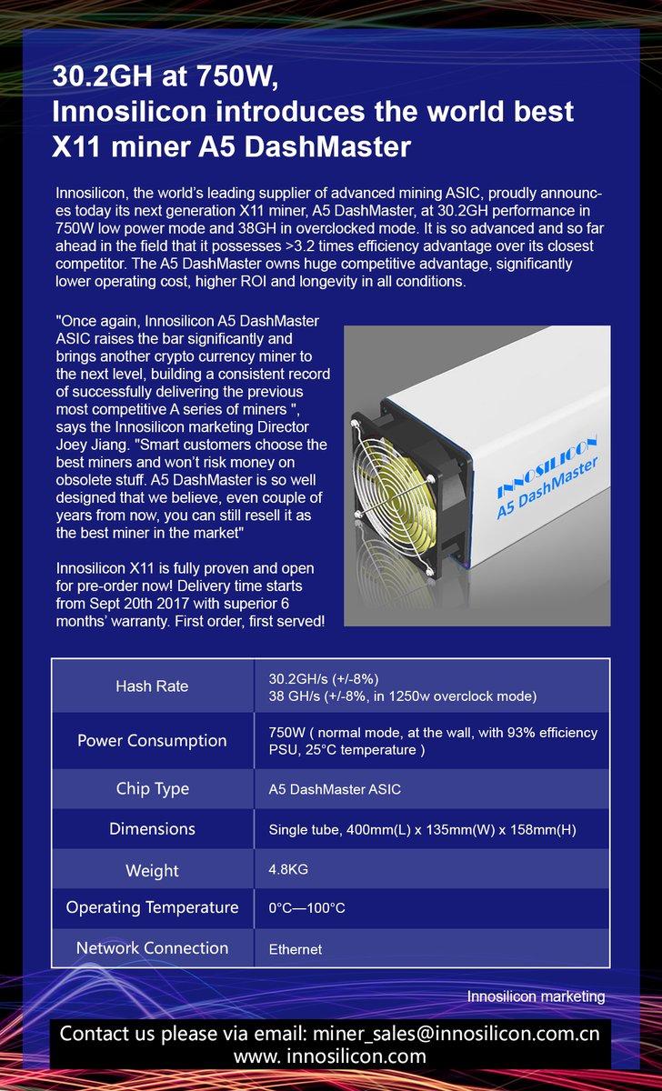Innosilicon a5 dashmaster x11 asic купить прибор для майнинга биткоинов