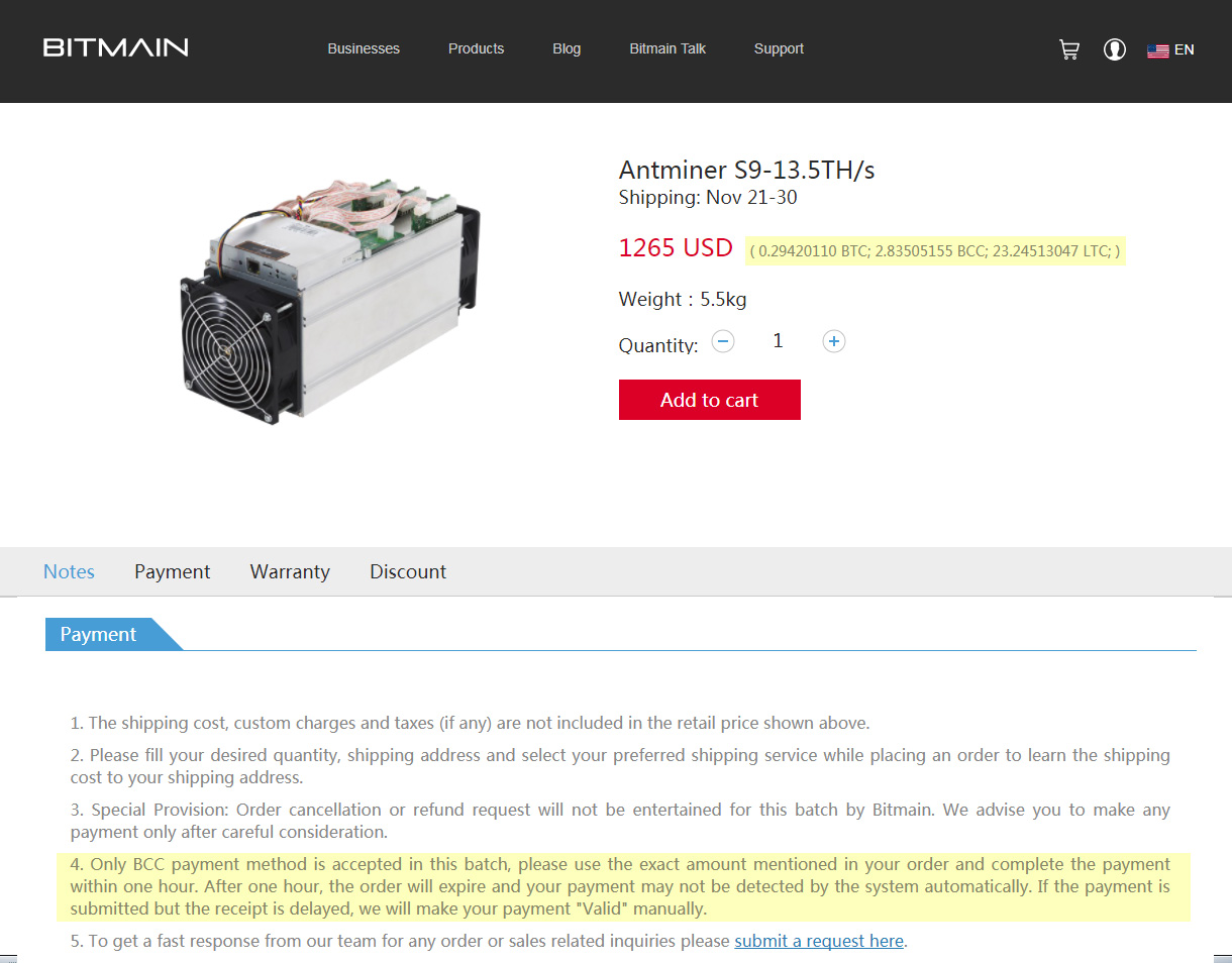 Only bcc payment method accepted for the latest batch of antminer s9 something interesting and not so nice regarding bitmain and their latest batch of antminer s9 asic miners it seems that although the company is listing ccuart Images
