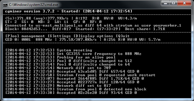 Updated cgminer 3 7 2 with Support for Gridseed 5-chip and