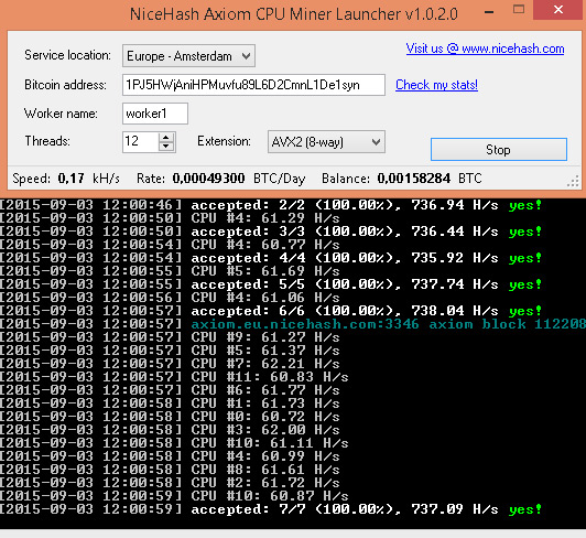 NiceHash Axiom CPU Miner Launcher - Crypto Mining Blog