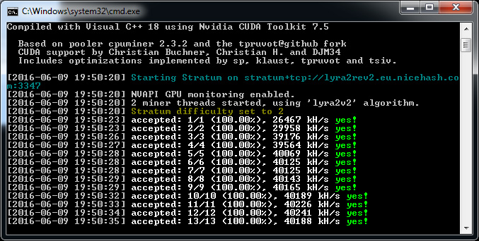Windows Binary of the ccMiner 1 5 80-git SP Nicehash fork With
