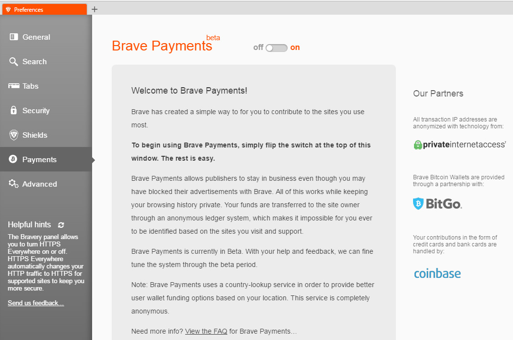Checking Out Brave Browser's Brave Payments Feature Powered