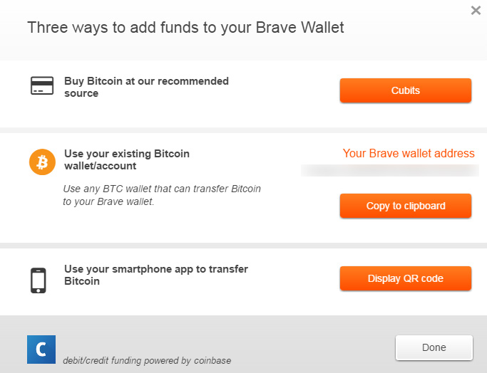 Brave bitcoin wallet crypto mining blog once you enable the feature you will get a bitcoin wallet address generated for you where you can deposit btc that will be used to support your favorite ccuart Image collections
