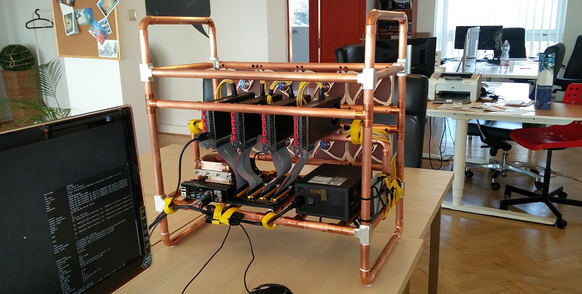 Open Frame Gpu Mining Rig Made With Copper Tubes Crypto