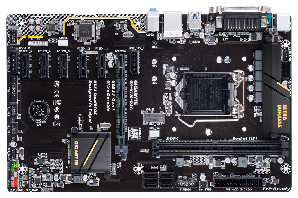 Gigabyte GA-H110-D3A 6x PCI-E GPU Mining Motherboard