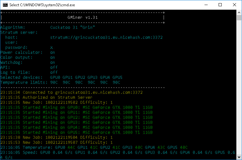 GMiner CUDA Equihash Miner v1 31 With a Support for Grin's