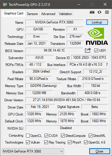 Mining Performance of Asus ROG Strix GeForce RTX 3060 OC Edition